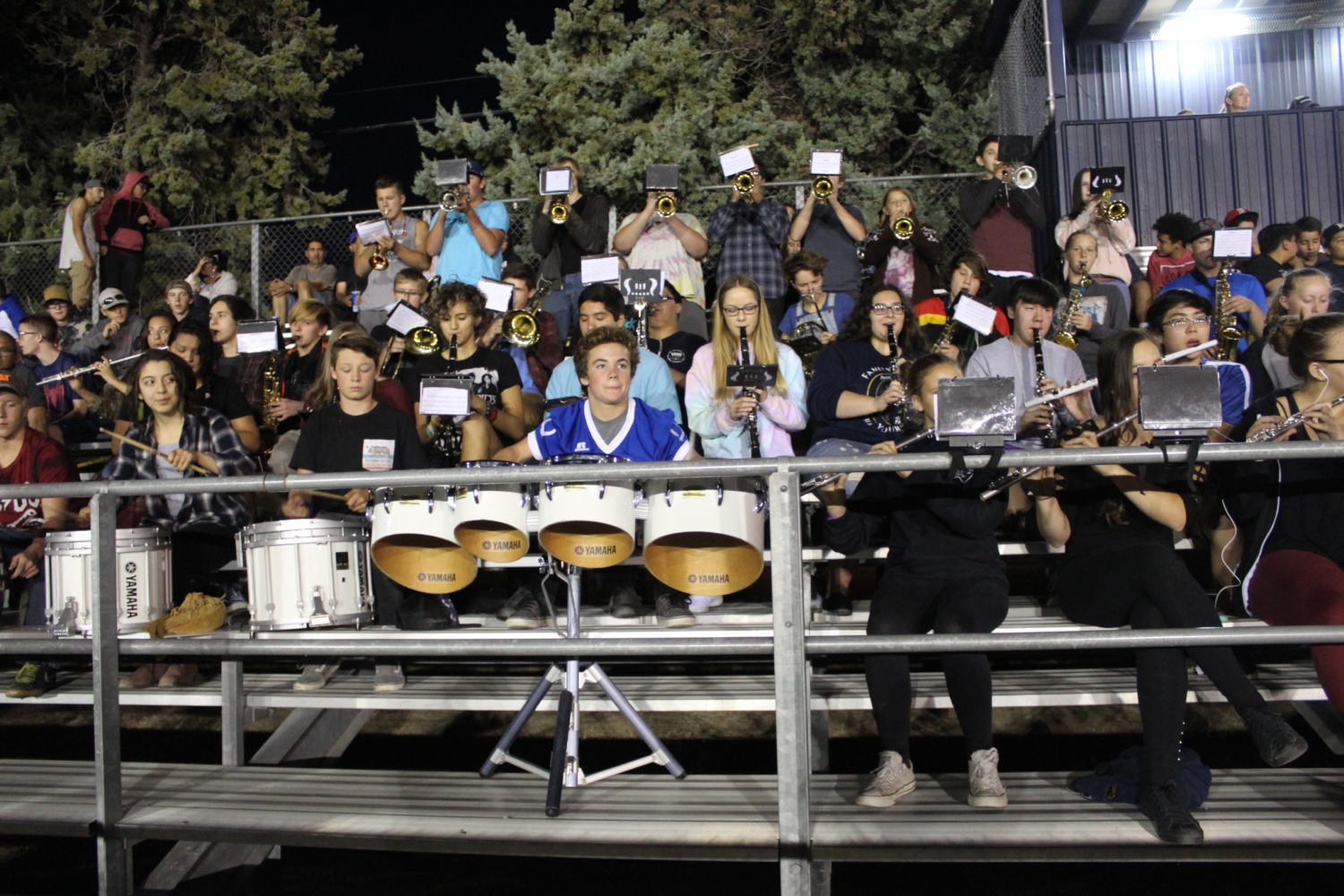 The Bishop Union High School band performs, their their proud music pumping up the crowd
