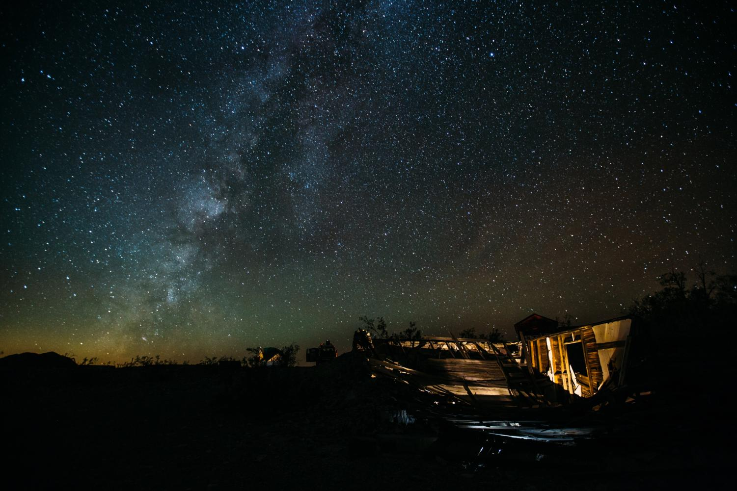 Stars Above the Paranormal: The Milky Way spilling over a decrepit cabin on October 22, 2017. Photo by anonymous.