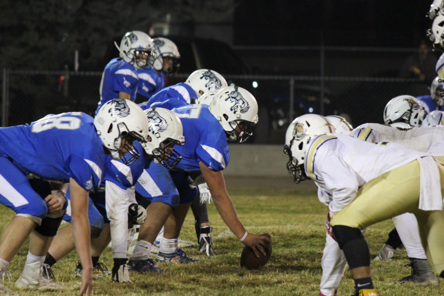 O-line getting ready for a play