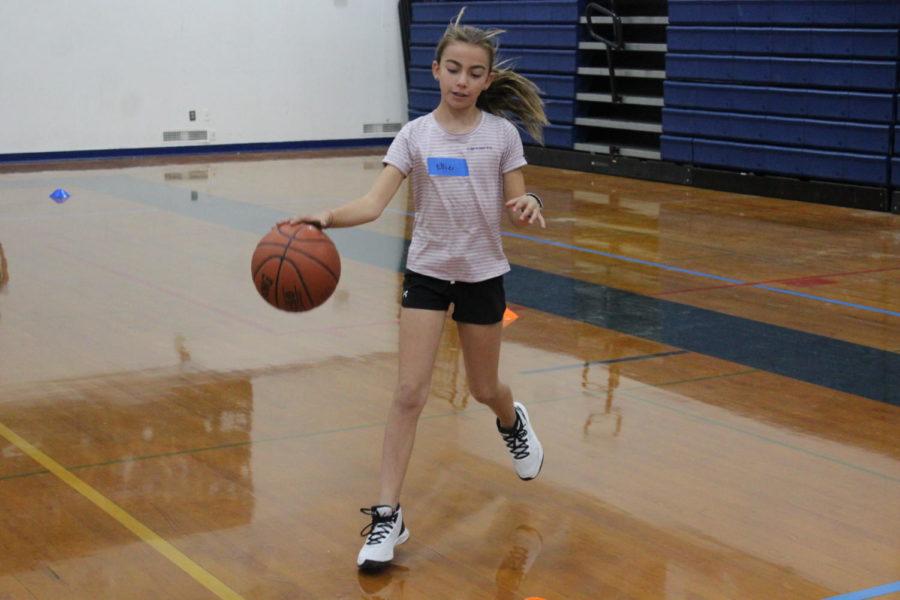 Girl dribbling the ball