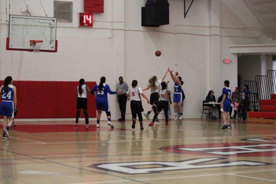 #3 Idalia Jimenez with the shot  Girls varsity basketball Bishop vs Rosamond