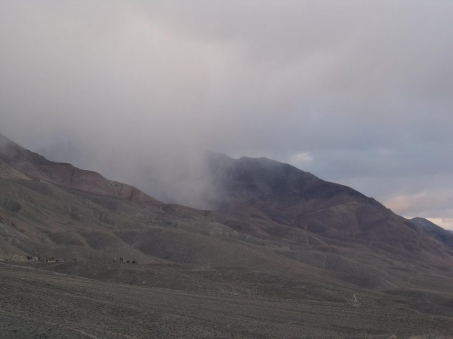 A cloudy Black Canyon seen from the foothills east of Poleta Road late 1/23/2021.