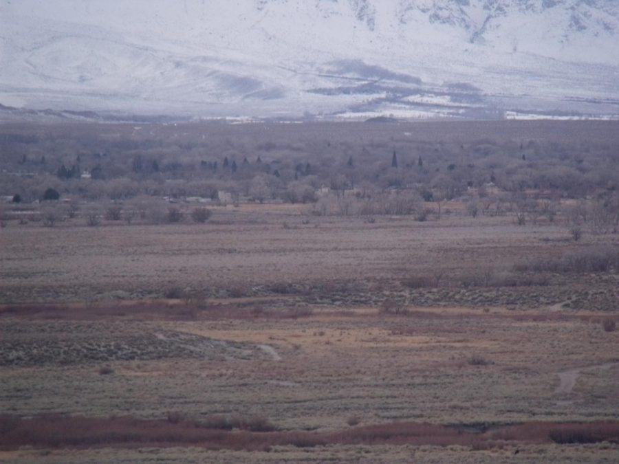 Looking towards Bishop with the Sierra Nevada Mountains in the background from the foothills east of Poleta Road late 1/31/2021.