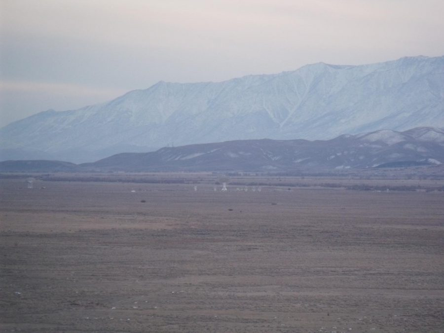 A view of the CalTech radio telescopes from the foothills east of Poleta Road late 1/31/2021.