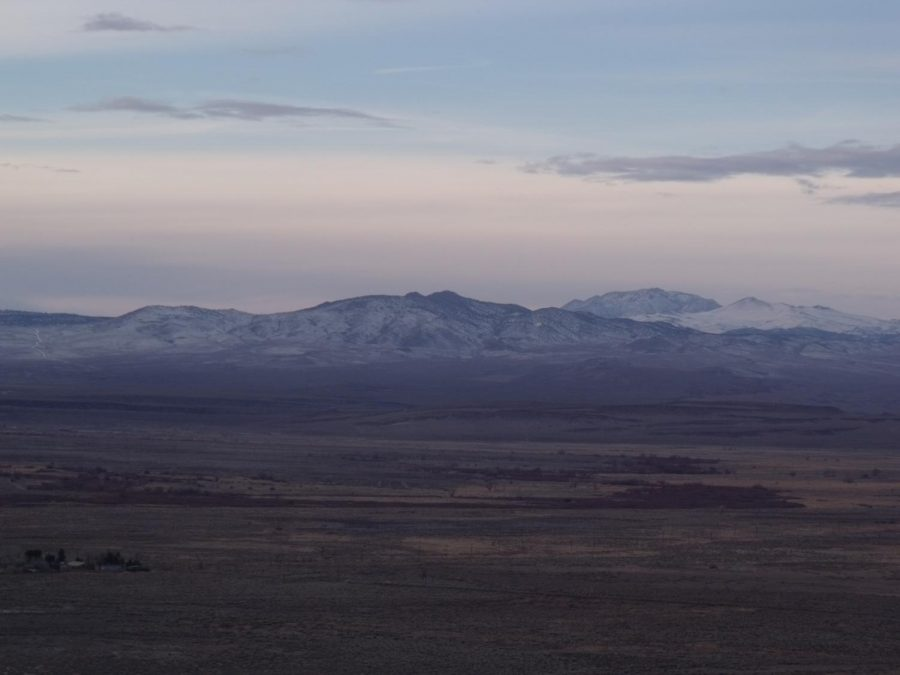 Looking northwest from the foothills east of Poleta Road late 1/31/2021, with White Mountain Research Station in the lower left hand corner.