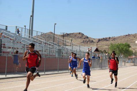 Bishop Union Highschool Track and field runs against Rosamond Highschool