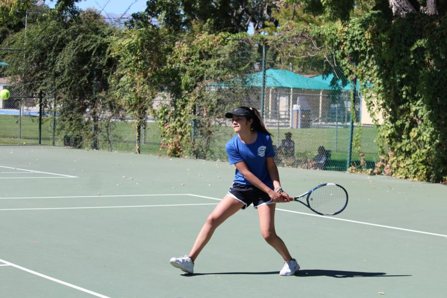 Ximena Cervantes returning a serve vs. Rosamond on September 30th.